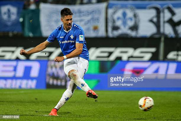 Sandro Wagner of Darmstadt scores his team's first goal with a penalty kick during the Bundesliga match between SV Darmstadt 98 and Werder Bremen at...