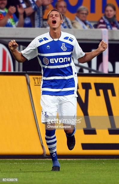 Sandro Wagner of Duisburg celebrates his first goal during the 2nd Bundesliga match between MSV Duisburg and Hansa Rostock at the MSV Arena on August...
