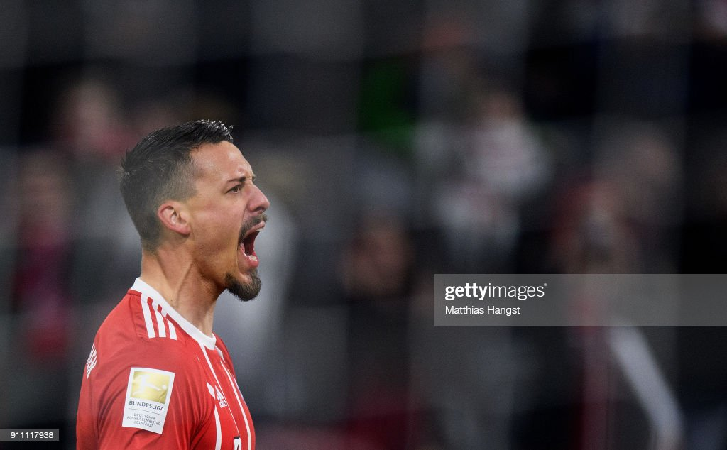 Sandro Wagner of FC Bayern Muenchen celebrates after scoring his team's fifth goal during the Bundesliga match between FC Bayern Muenchen and TSG 1899 Hoffenheim at Allianz Arena on January 27, 2018 in Munich, Germany.