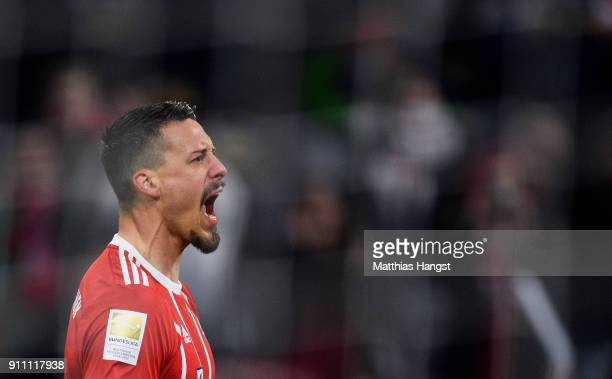 Sandro Wagner of FC Bayern Muenchen celebrates after scoring his team's fifth goal during the Bundesliga match between FC Bayern Muenchen and TSG...