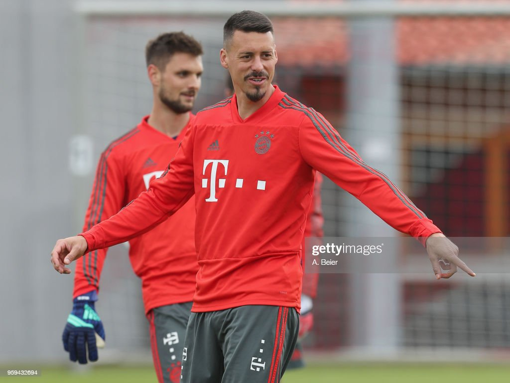 Sandro Wagner of FC Bayern Muenchen is pictured during a training session at the club's Saebener Strasse training ground on May 17, 2018 in Munich, Germany.