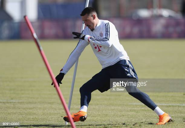 Sandro Wagner of FC Bayern Muenchen practises during a training session at the club's Saebener Strasse training ground on March 8 2018 in Munich...