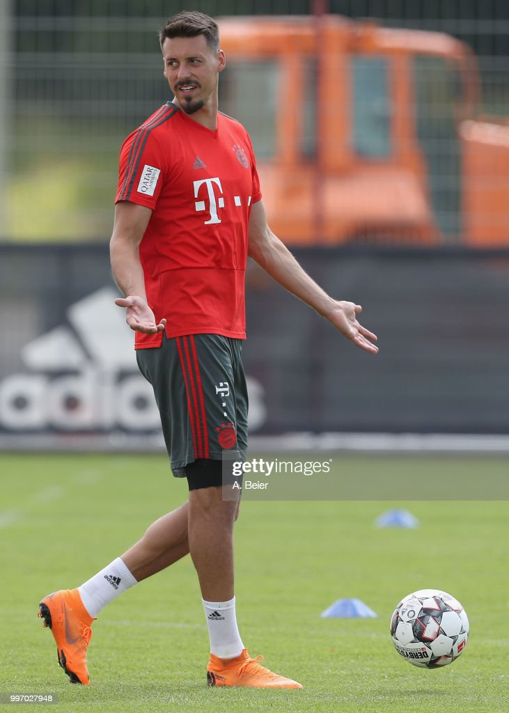 Sandro Wagner of FC Bayern Muenchen reacts during a training session at the club's Saebener Strasse training ground on July 12, 2018 in Munich, Germany.