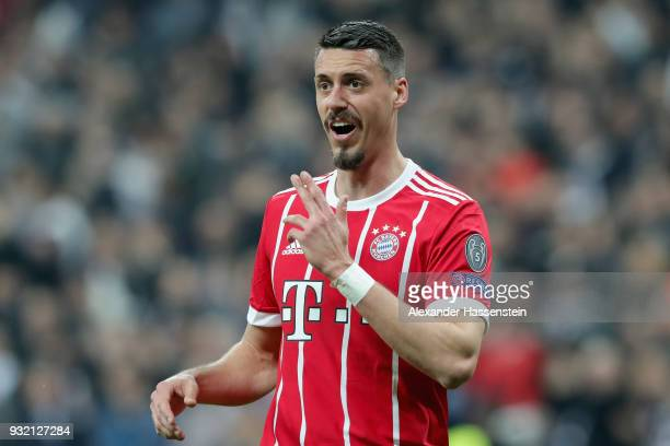Sandro Wagner of FC Bayern Muenchen reacts during the UEFA Champions League Round of 16 Second Leg match Besiktas and Bayern Muenchen at Vodafone...