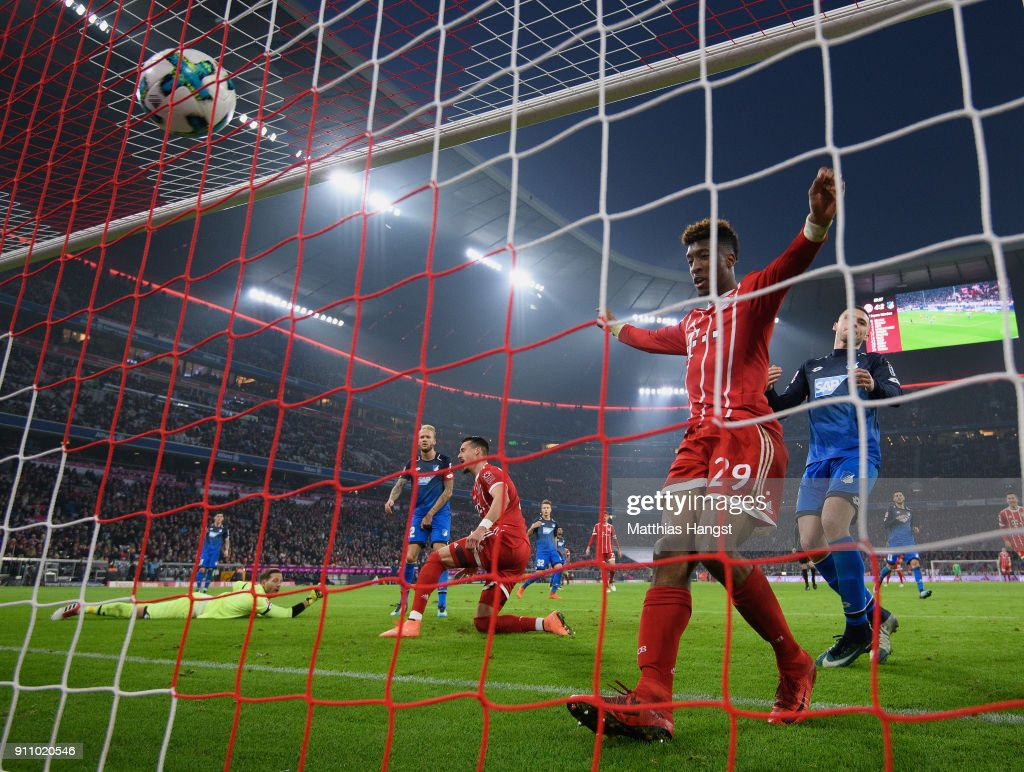 Sandro Wagner of FC Bayern Muenchen scores his team's fifth goal during the Bundesliga match between FC Bayern Muenchen and TSG 1899 Hoffenheim at Allianz Arena on January 27, 2018 in Munich, Germany.
