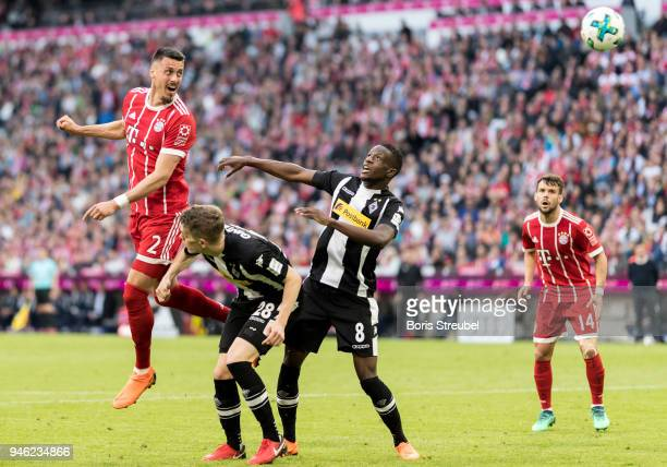 Sandro Wagner of FC Bayern Muenchen scores his team's second goal with a header during the Bundesliga match between FC Bayern Muenchen and Borussia...