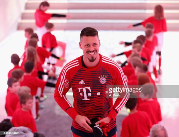 Sandro Wagner of FC Bayern Muenchen smiles at the players' tunnel before the Bundesliga match between FC Bayern Muenchen and Werder Bremen at Allianz...