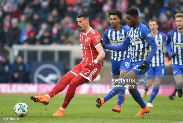 Sandro Wagner of FC Bayern Munich in action against Jordan Torunarigha of Hertha BSC Berlin during the German Bundesliga soccer match between FC...