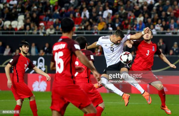 Sandro Wagner of Germany heads the 2nd goal during the FIFA 2018 World Cup Qualifier between Germany and Azerbaijan at FritzWalterStadion on October...