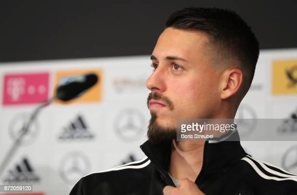 Sandro Wagner of Germany looks on during a press conference ahead of a international friendly match against England at Mercedes Benz am Salzufer on...