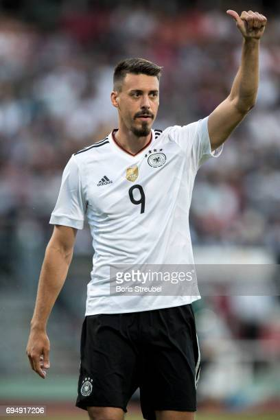 Sandro Wagner of Germany reacts during the FIFA 2018 World Cup Qualifier between Germany and San Marino at Stadion Nuernberg on June 10 2017 in...