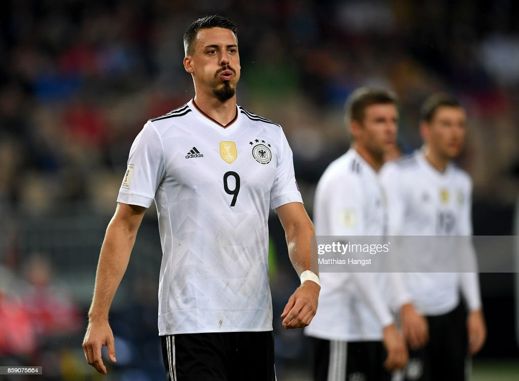 Sandro Wagner of Germany reacts during the FIFA 2018 World Cup Qualifier between Germany and Azerbaijan at Fritz-Walter-Stadion on October 8, 2017 in Kaiserslautern, Rhineland-Palatinate.