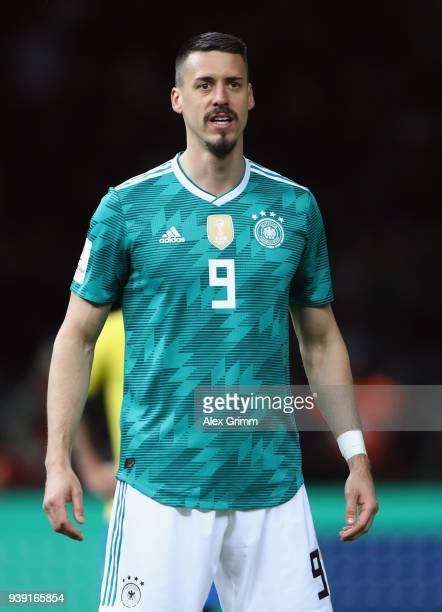 Sandro Wagner of Germany reacts during the international friendly match between Germany and Brazil at Olympiastadion on March 27 2018 in Berlin...