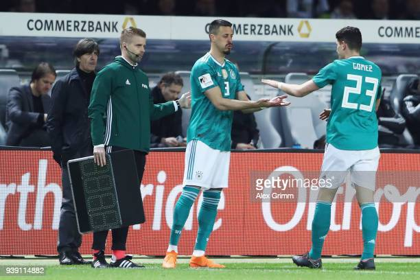 Sandro Wagner of Germany replaces Mario Gomez during the international friendly match between Germany and Brazil at Olympiastadion on March 27 2018...