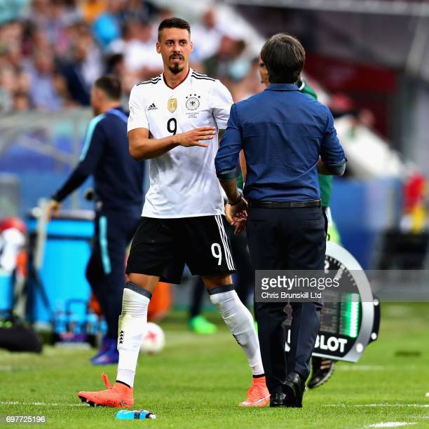 Sandro Wagner of Germany talks with Germany Head Coach Joachim Low after being substituted during the FIFA Confederations Cup Russia 2017 Group B...