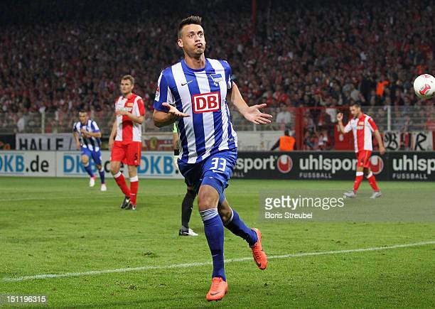 Sandro Wagner of Hertha celebrates his team's first goal during the Second Bundesliga match between 1FC Union Berlin and Hertha BSC Berlin at Stadion...
