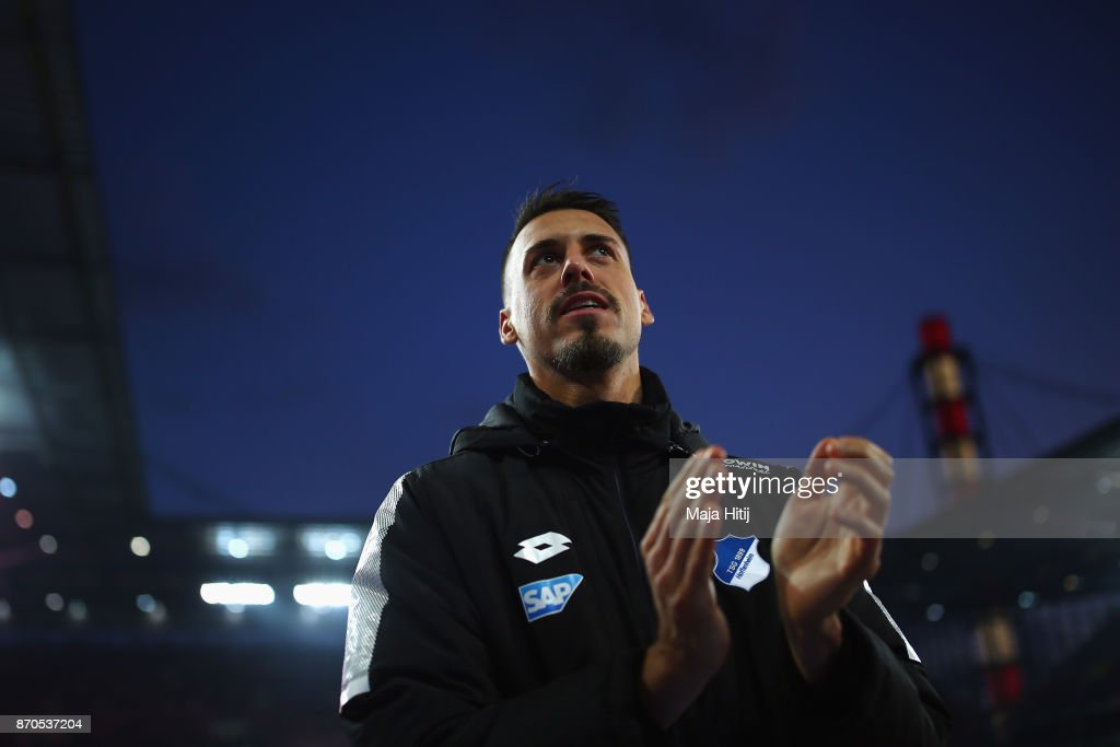 Sandro Wagner of Hoffenheim applauds to the fans after the Bundesliga match between 1. FC Koeln and TSG 1899 Hoffenheim at RheinEnergieStadion on November 5, 2017 in Cologne, Germany.