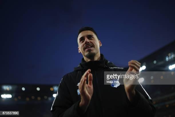 Sandro Wagner of Hoffenheim applauds to the fans after the Bundesliga match between 1 FC Koeln and TSG 1899 Hoffenheim at RheinEnergieStadion on...