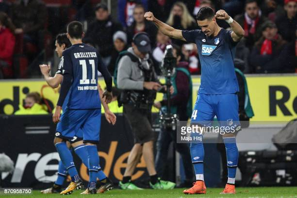 Sandro Wagner of Hoffenheim celebrates after scoring his team's third goal during the Bundesliga match between 1 FC Koeln and TSG 1899 Hoffenheim at...