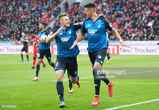 Sandro Wagner of Hoffenheim celebrates his goal to 20 for Hoffenheim with Pavel Kaderabek of Hoffenheim during the Bundesliga match between Bayer 04...