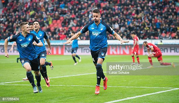 Sandro Wagner of Hoffenheim celebrates his goal to 20 for Hoffenheim with teammates during the Bundesliga match between Bayer 04 Leverkusen and TSG...