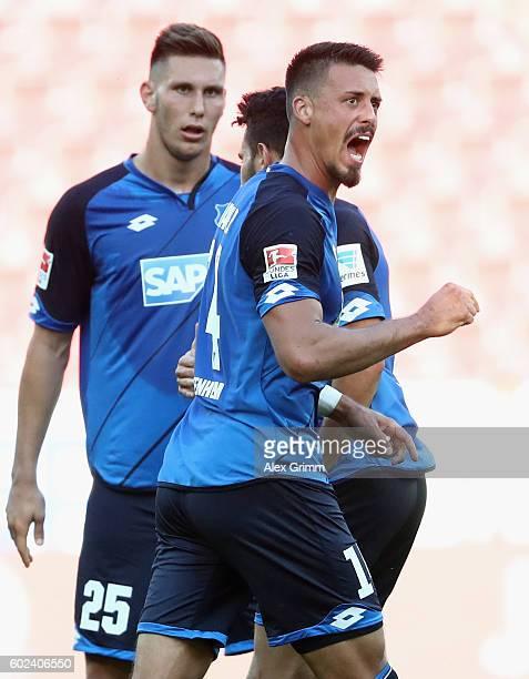 Sandro Wagner of Hoffenheim celebrates his team's first goal during the Bundesliga match between 1 FSV Mainz 05 and TSG 1899 Hoffenheim at Opel Arena...