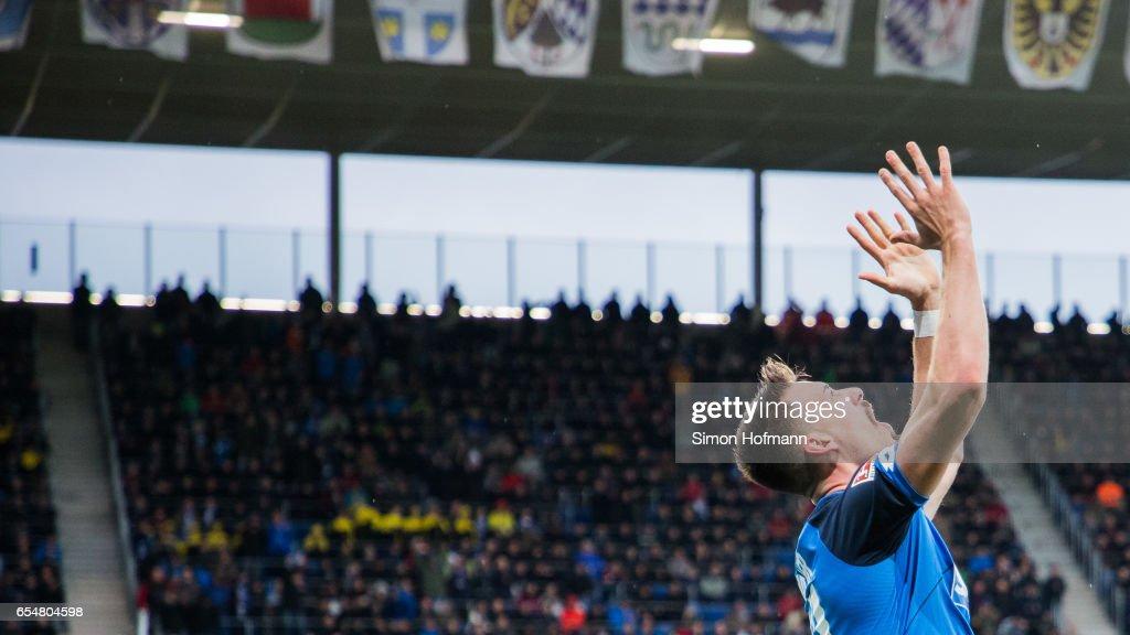 Sandro Wagner of Hoffenheim celebrates his team's first goal during the Bundesliga match between TSG 1899 Hoffenheim and Bayer 04 Leverkusen at Wirsol Rhein-Neckar-Arena on March 18, 2017 in Sinsheim, Germany.