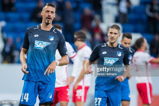 Sandro Wagner of Hoffenheim celebrates his team's first goal during the UEFA Europa League Group C match between 1899 Hoffenheim and Sporting Braga...