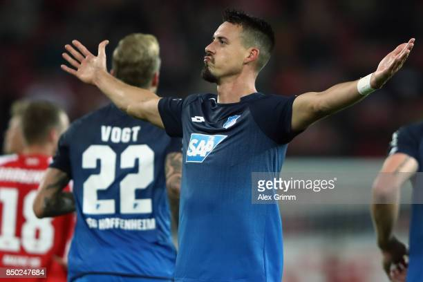 Sandro Wagner of Hoffenheim celebrates his team's second goal during the Bundesliga match between 1 FSV Mainz 05 and TSG 1899 Hoffenheim at Opel...