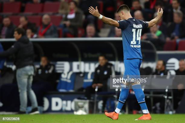 Sandro Wagner of Hoffenheim celebrates his team's second goal during the Bundesliga match between 1 FC Koeln and TSG 1899 Hoffenheim at...