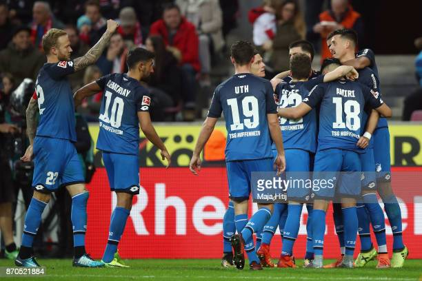 Sandro Wagner of Hoffenheim celebrates his team's second goal with team mates during the Bundesliga match between 1 FC Koeln and TSG 1899 Hoffenheim...