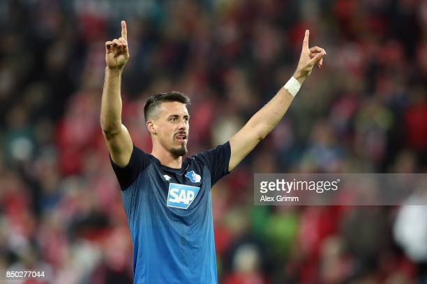 Sandro Wagner of Hoffenheim celebrates in front of the Mainz fans after the Bundesliga match between 1 FSV Mainz 05 and TSG 1899 Hoffenheim at Opel...