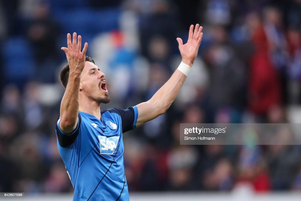 Sandro Wagner of Hoffenheim celebrates winning during the Bundesliga match between TSG 1899 Hoffenheim and SV Darmstadt 98 at Wirsol Rhein-Neckar-Arena on February 18, 2017 in Sinsheim, Germany.