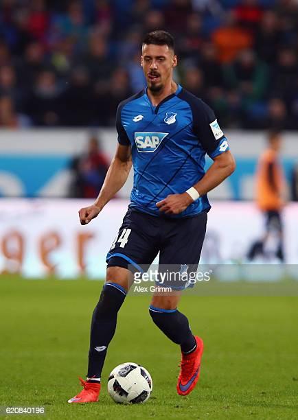 Sandro Wagner of Hoffenheim controles the ball during the Bundesliga match between TSG 1899 Hoffenheim and Hertha BSC at Wirsol RheinNeckarArena on...