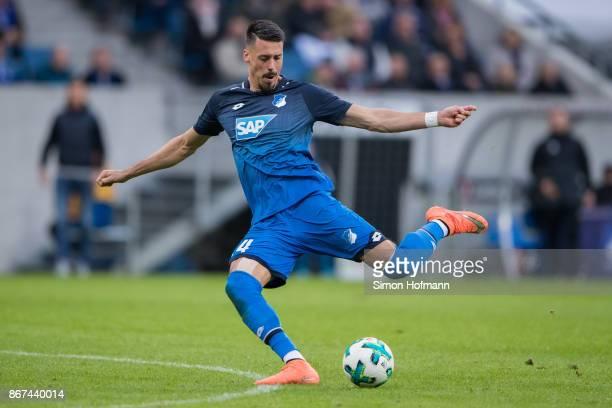 Sandro Wagner of Hoffenheim controls the ball during the Bundesliga match between TSG 1899 Hoffenheim and Borussia Moenchengladbach at Wirsol...
