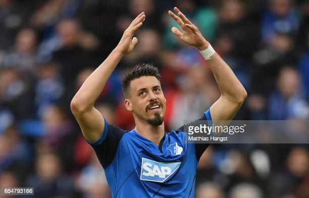 Sandro Wagner of Hoffenheim gestures during the Bundesliga match between TSG 1899 Hoffenheim and Bayer 04 Leverkusen at Wirsol RheinNeckarArena on...