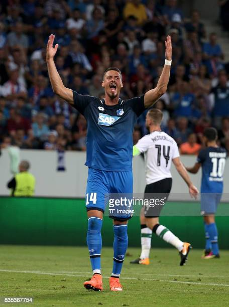 Sandro Wagner of Hoffenheim gestures during the UEFA Champions League Qualifying PlayOffs Round First Leg match between 1899 Hoffenheim and Liverpool...