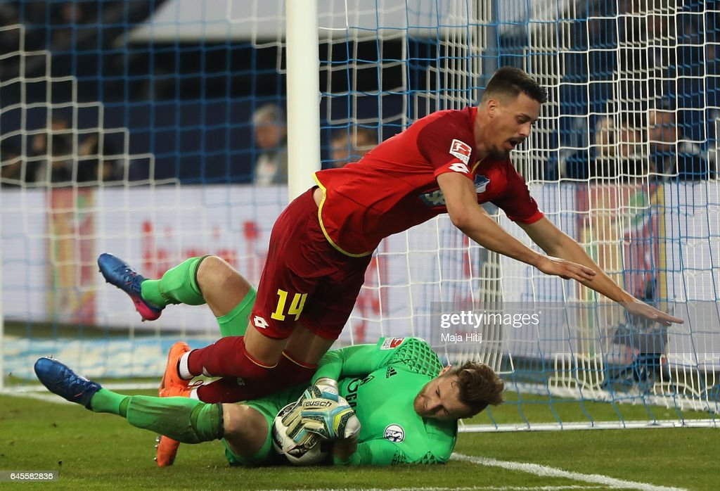 Sandro Wagner of Hoffenheim has a chance saved by Ralf Fhrmann of Schalke during the Bundesliga match between FC Schalke 04 and TSG 1899 Hoffenheim at Veltins-Arena on February 26, 2017 in Gelsenkirchen, Germany.