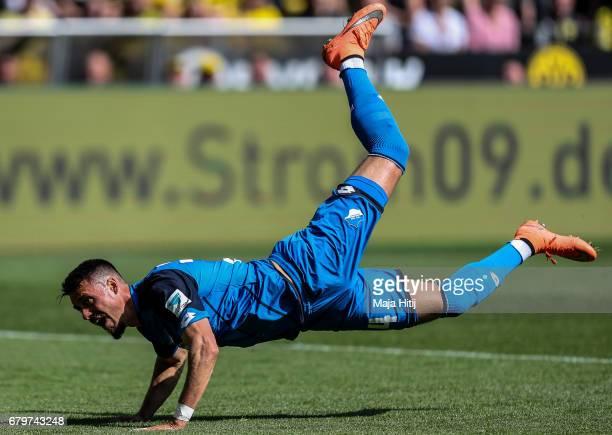 Sandro Wagner of Hoffenheim jumps during the Bundesliga match between Borussia Dortmund and TSG 1899 Hoffenheim at Signal Iduna Park on May 6 2017 in...