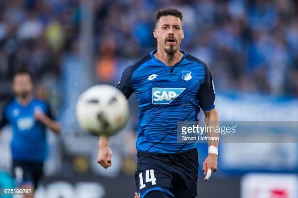 Sandro Wagner of Hoffenheim looks at the ball during the Bundesliga match between TSG 1899 Hoffenheim and Eintracht Frankfurt at Wirsol...