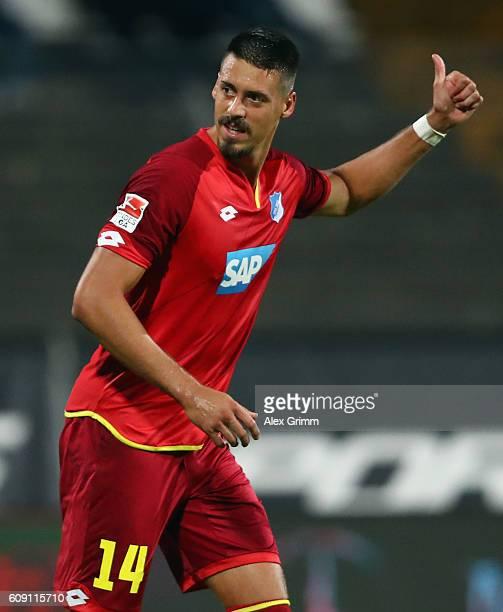 Sandro Wagner of Hoffenheim reacts during the Bundesliga match between SV Darmstadt 98 and TSG 1899 Hoffenheim at JonathanHeimsStadion am...