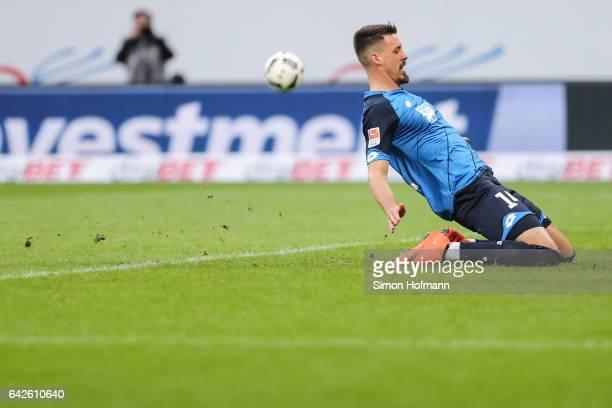Sandro Wagner of Hoffenheim reacts during the Bundesliga match between TSG 1899 Hoffenheim and SV Darmstadt 98 at Wirsol RheinNeckarArena on February...