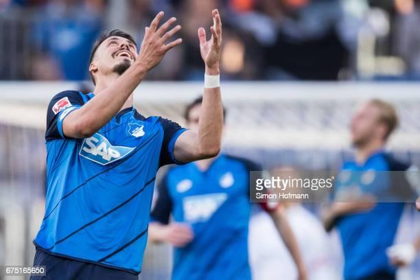 Sandro Wagner of Hoffenheim reacts during the Bundesliga match between TSG 1899 Hoffenheim and Eintracht Frankfurt at Wirsol RheinNeckarArena on...