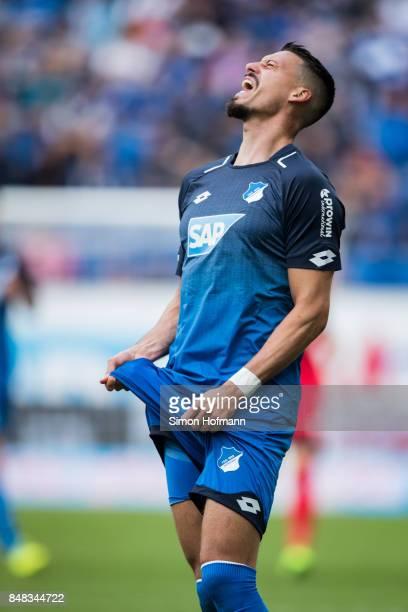 Sandro Wagner of Hoffenheim reacts during the Bundesliga match between TSG 1899 Hoffenheim and Hertha BSC at Wirsol RheinNeckarArena on September 17...