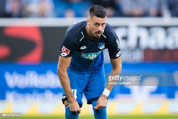 Sandro Wagner of Hoffenheim reacts during the Bundesliga match between TSG 1899 Hoffenheim and FC Augsburg at Wirsol RheinNeckarArena on October 14...