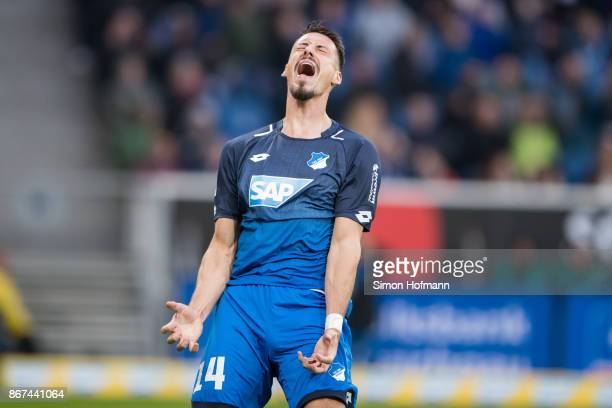 Sandro Wagner of Hoffenheim reacts during the Bundesliga match between TSG 1899 Hoffenheim and Borussia Moenchengladbach at Wirsol RheinNeckarArena...