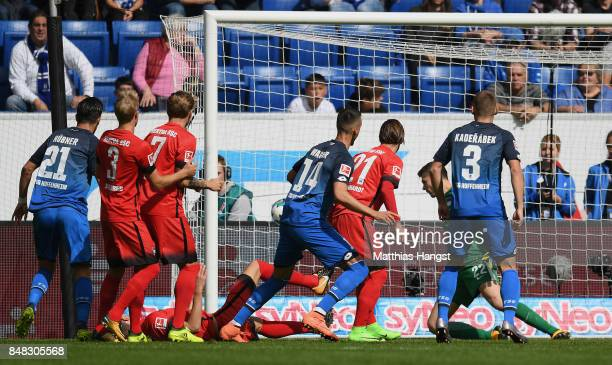 Sandro Wagner of Hoffenheim scores his team's first goal past during the Bundesliga match between TSG 1899 Hoffenheim and Hertha BSC at Wirsol...