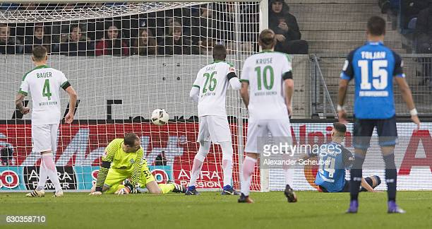 Sandro Wagner of Hoffenheim scores the first goal for his team during the Bundesliga match between TSG 1899 Hoffenheim and Werder Bremen at Wirsol...