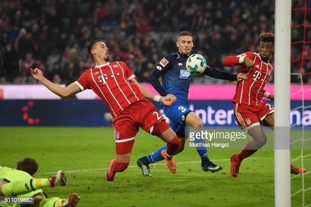 Sandro Wagner of Muenchen about to score a goal to make it 52 during the Bundesliga match between FC Bayern Muenchen and TSG 1899 Hoffenheim at...