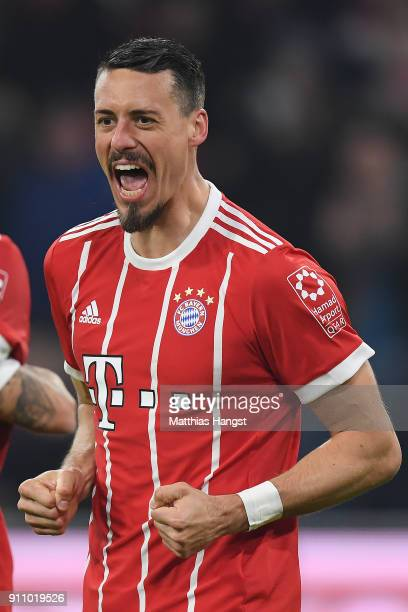 Sandro Wagner of Muenchen celebrates after he scored a goal to make it 52 during the Bundesliga match between FC Bayern Muenchen and TSG 1899...